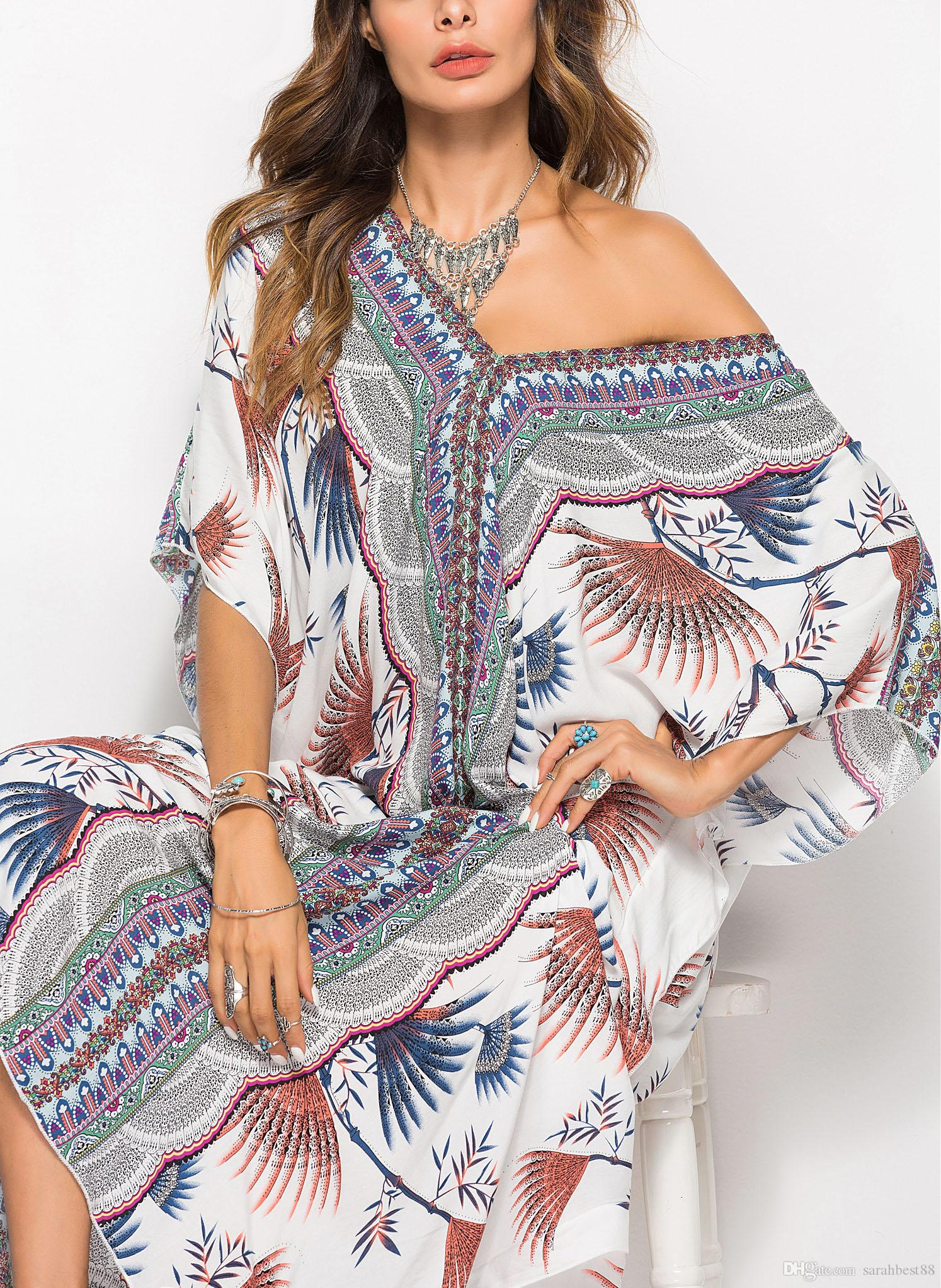 Beach Maxi Swing Print Print Женщины V-образным вырезом Короткое платье Пляж Флористическая Свободная длинная пляжная одежда Kaftan Рукав ИБП Пончо Ночная одежда Крышка Халата KPQIC