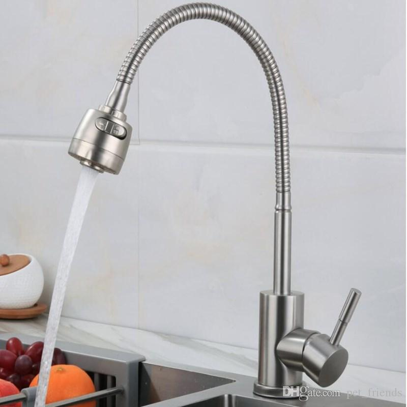 2019 Stainless Steel 304 Kitchen Faucet Mixers Sink Tap Wall Faucet Modern  Hot And Cold Water Kitchen Tap New Style From Pet_friends, $67.59 | ...