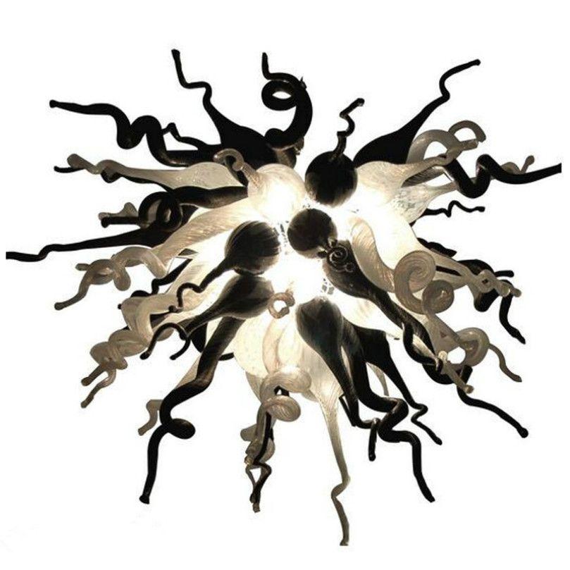 LED Tavan Fanı Işıkları Lambaları Beyaz Ve Siyah Gölge Murano Kolye Işık Avrupa Oturma Odası Art Deco E27 Üflemeli Cam Avize Aydınlatma