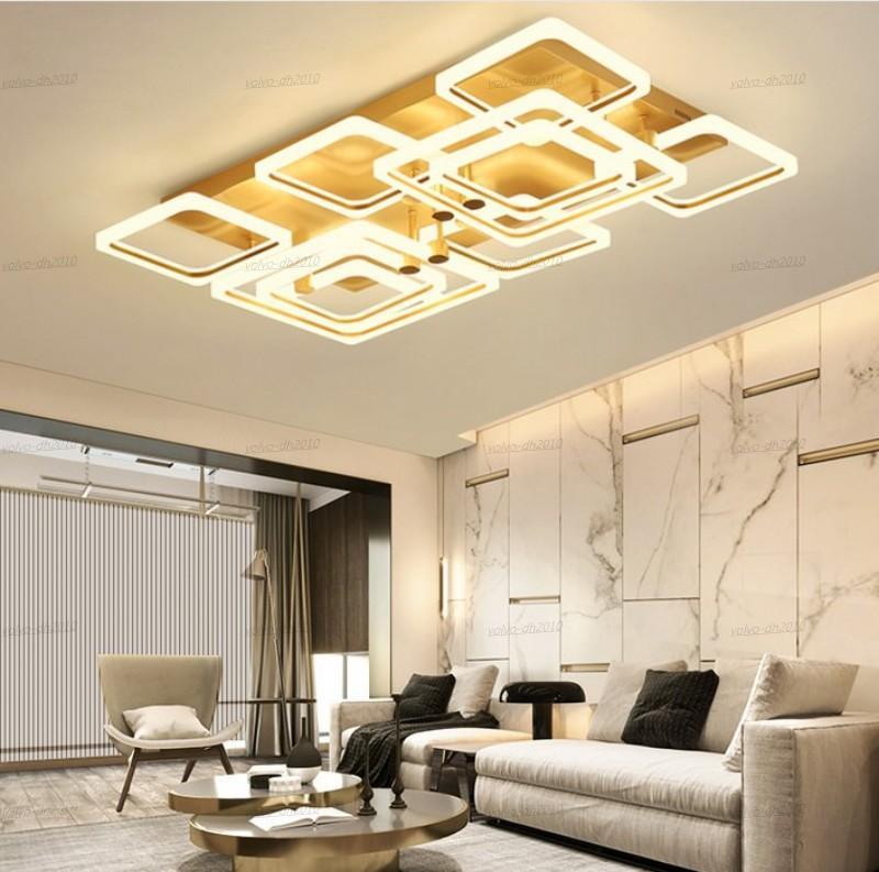 I lampadari a LED moderni rettangolari per soggiorno camera da letto soggiorno camera da letto oro rifinito home deco remo lampade a soffitto lampadario luci illuminazione