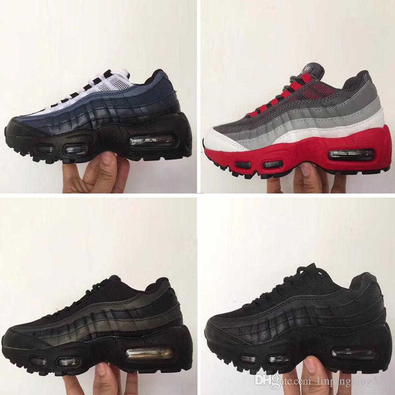 Nike air max 95 2018 Детская мода дышащая классическая кожаная обувь с 8 цветами Детская обувь высокого качества для мальчиков Бесплатная доставка Eur 28-35