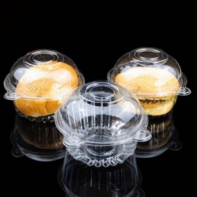 50Pcs Clear Plastic Cupcake Boxes Holder Muffin Case Cup Party Cake Decorating Tools Manga Pastelera