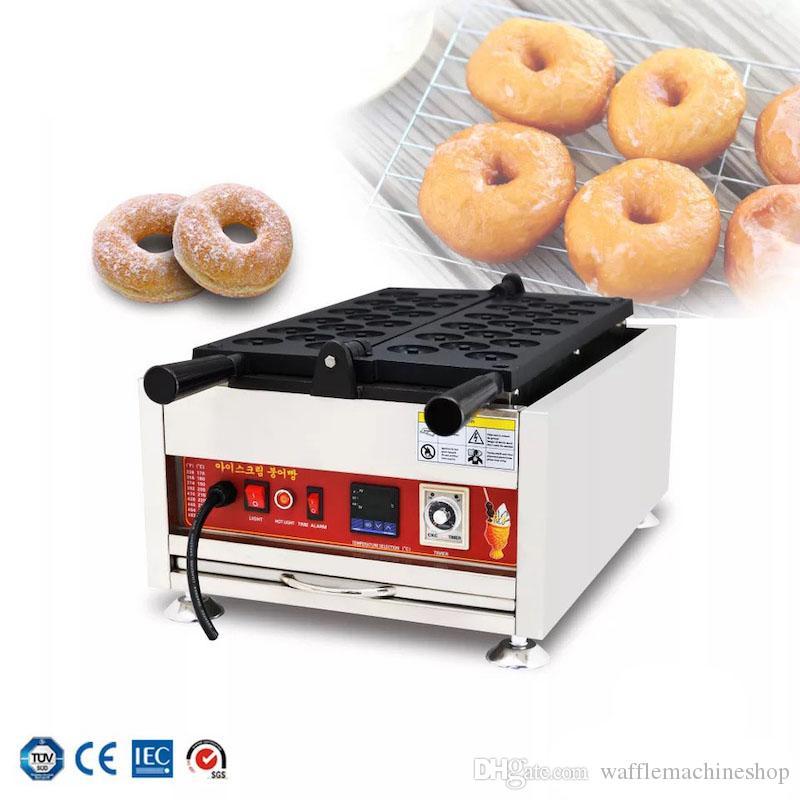 Ticari Mini Çörek Makinesi Dijital Ekran Sıcaklık Kontrolü 17-Hole Waffle Donuts Maker Elektrikli Kek Makinesi Snack Ekipmanları