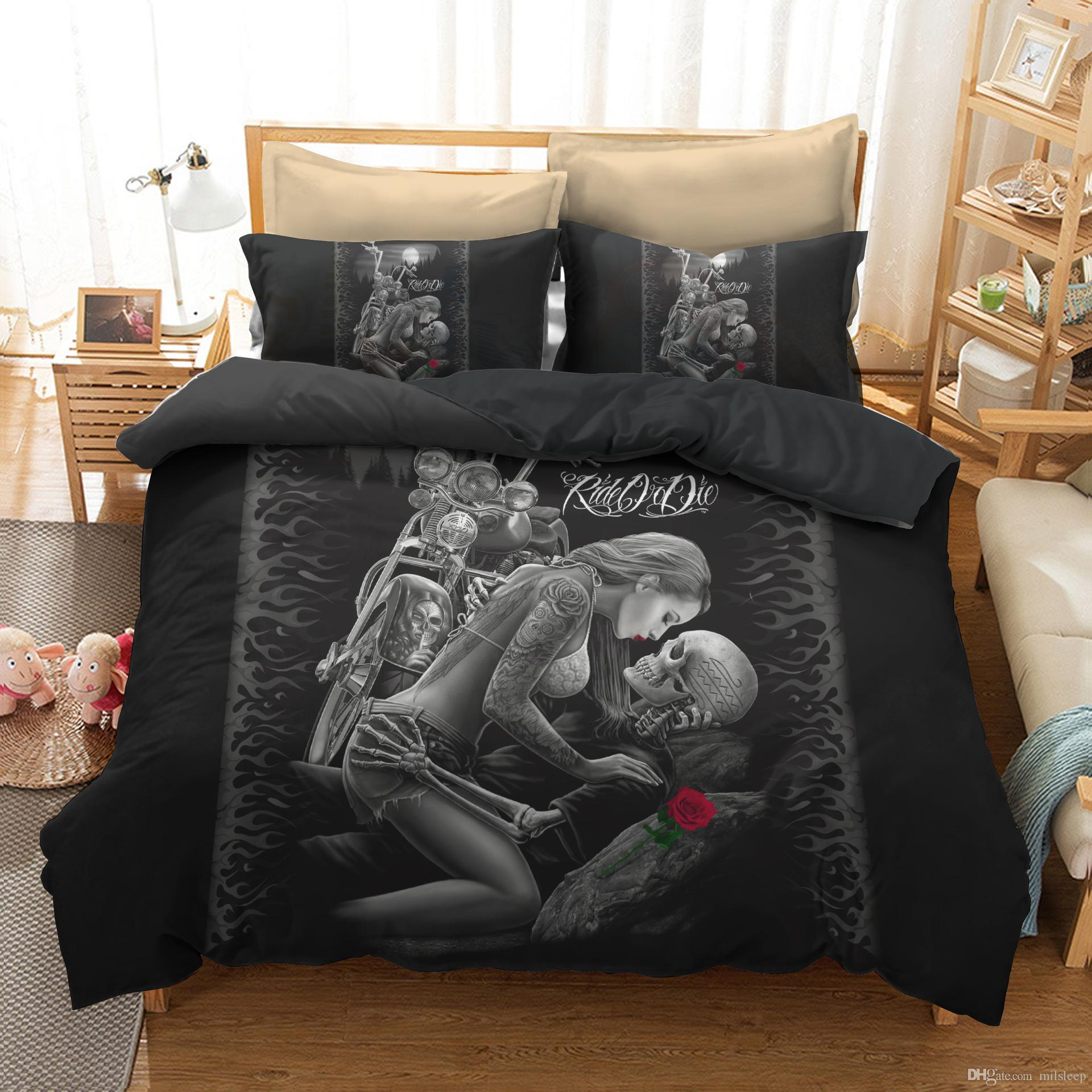 Floral Skull Duvet Cover Quilt Cover Pillow Cases Twin Full Queen King Double Gothic Bedding Set Tree Woman Butterfly Cool