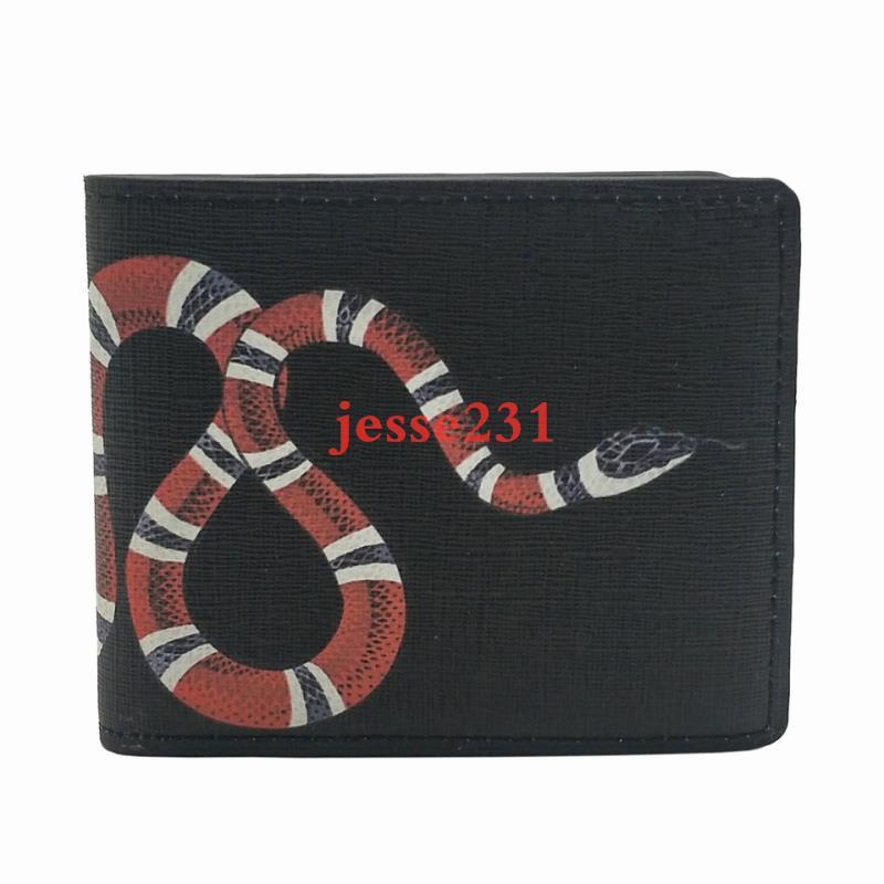 고품질 남성 동물 짧은 지갑 가죽 블랙 뱀 타이거 꿀벌 지갑 짧은 스타일 지갑 지갑 카드 홀더 선물 상자