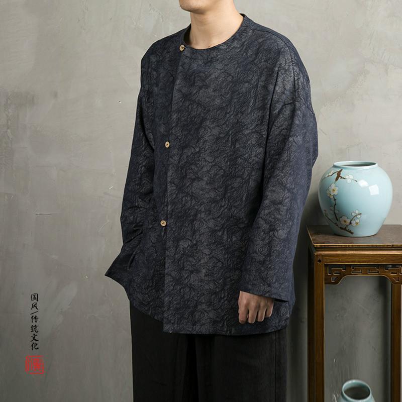Gevşek Tang Erkekler trençkotlar Suit Çin Stil Erkek Pamuk Keten Uzun Kollu Ceket Plus Size Giyim Kabanlar Tops