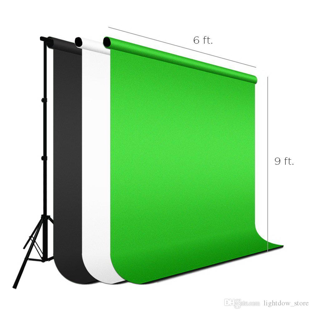 2x3M Photo Studio Background Stand Photography Video Photo Backdrop Support System kit and 3PCS 2x3M White/Black/Green Non Woven Fabric
