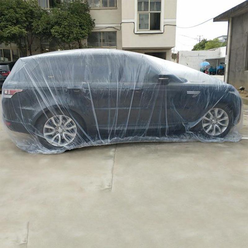 Tek Araç Kapak Su geçirmez Şeffaf Plastik toz geçirmez Kapak Yağmur Evrensel SUV Araç Yağmur Toz Kar Garaj Kapaklar