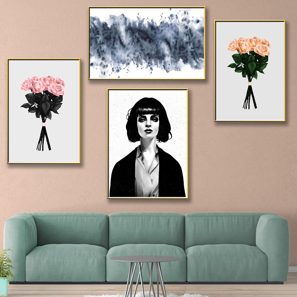Modern Two Bunch Of Flowers Canvas Painting Black White Canvas Painting For Living Room Bedroom Decor Wall Pictures Decoration