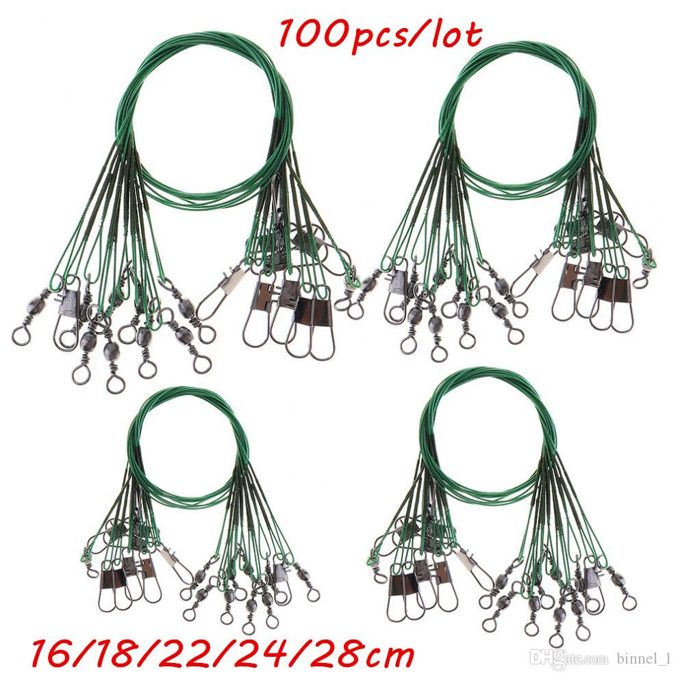 100pcs/lot 5 Sizes Mixed 16cm-28cm Anti-bite Steel Wire Fishing Lines Stainless Steel Snaps & Swivels Pesca Fishing Tackle Accessories BL_45
