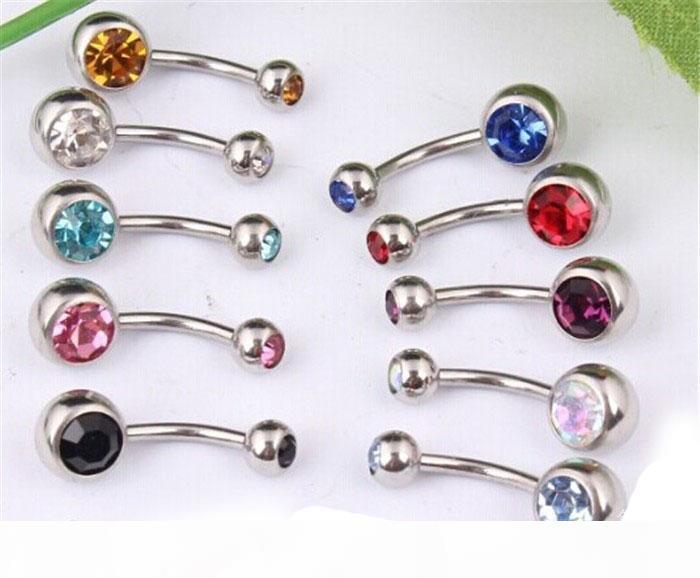 50pcs Kristal Rhinestone Yaz Bikini Cerrahi Çelik Piercing Takı Navel Bar Yüzük Göbek Düğme