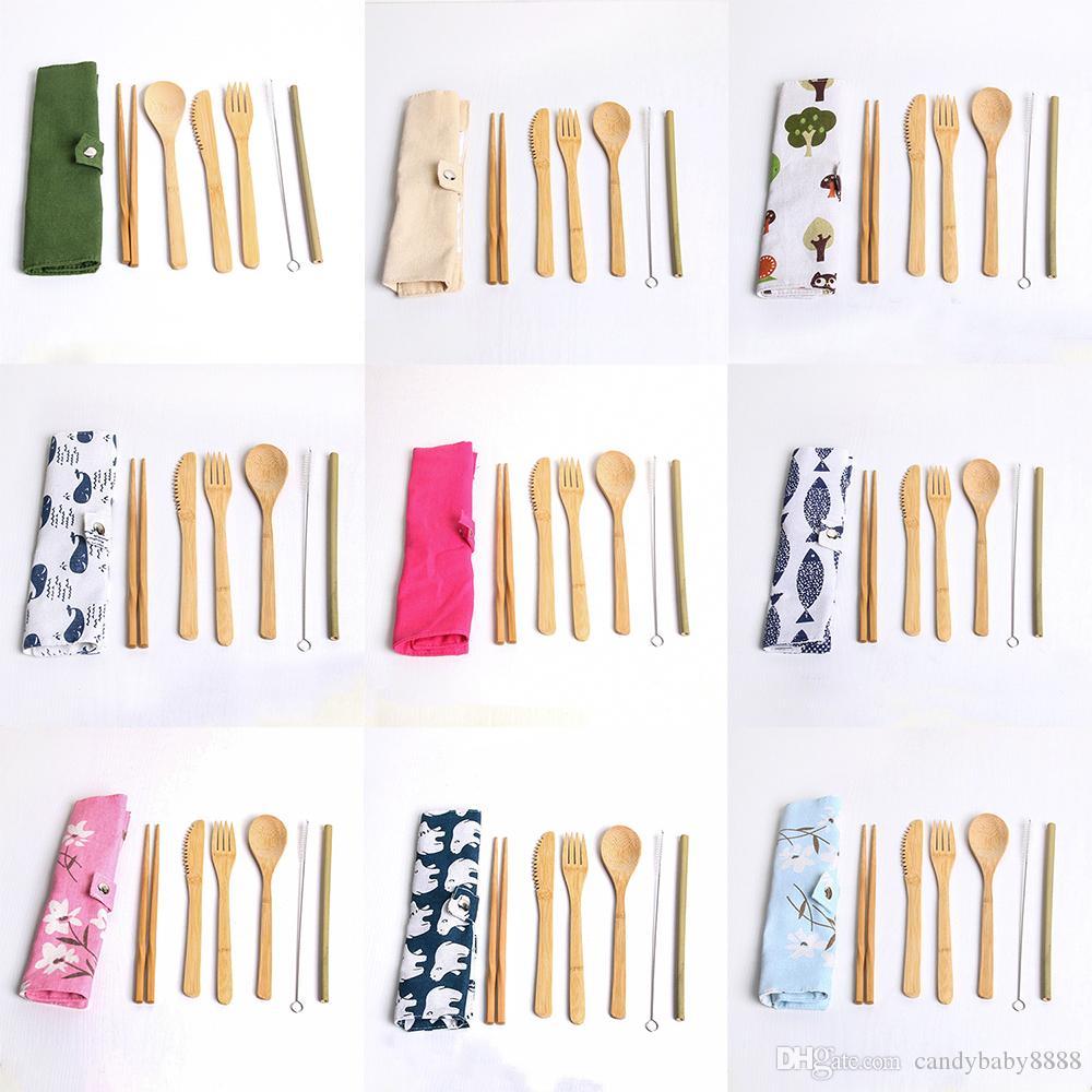 7PCS / set Conjuntos portátil Faqueiro Outdoor Viagem Bamboo talheres Set Faca Chopsticks Fork Colher Louça Para Student Louça C1423