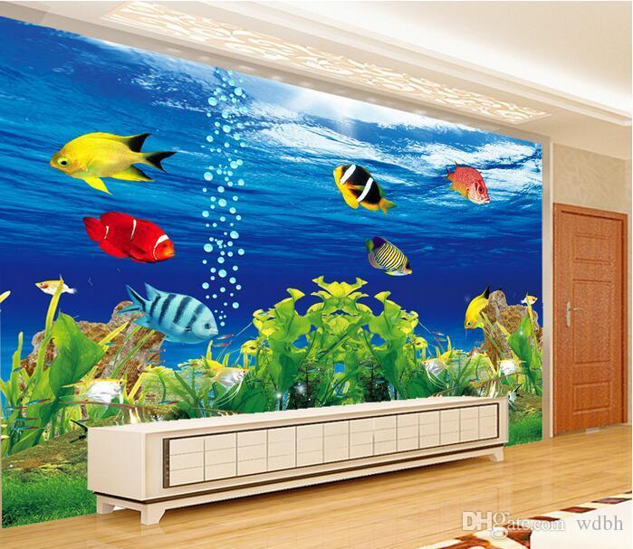 3d wallpaper benutzerdefinierte foto Ozean Unterwasserwelt Aquarium TV hintergrund wand wohnzimmer wohnkultur 3d wand muals tapeten für wände 3 d