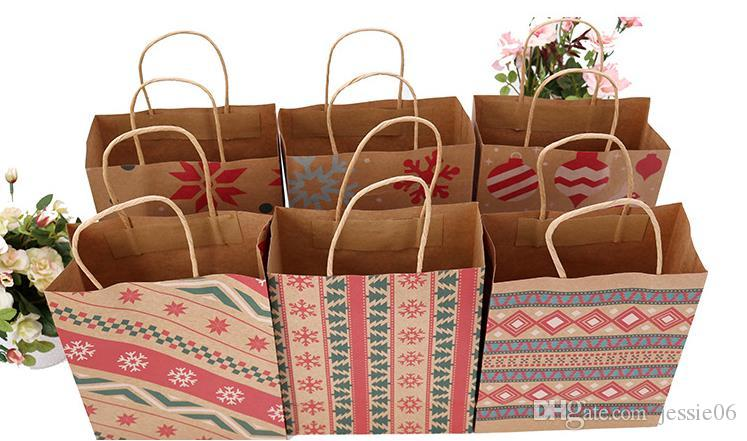 Christmas Kraft Paper Printed Gift Bags Handbag XMAS Presents Favors Toys Clothes Wrap Totes Shopping Carrier Handle Bag Packaging colorful
