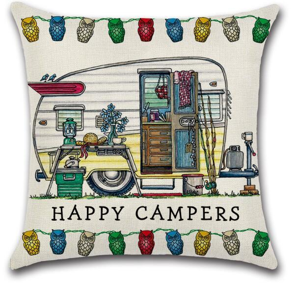 Happy Campers Pillow Case 45*45cm Touring Car Pillowcase Throw Linen Cushion Cover Home Cafe Office Decor Gift GGA3233-3