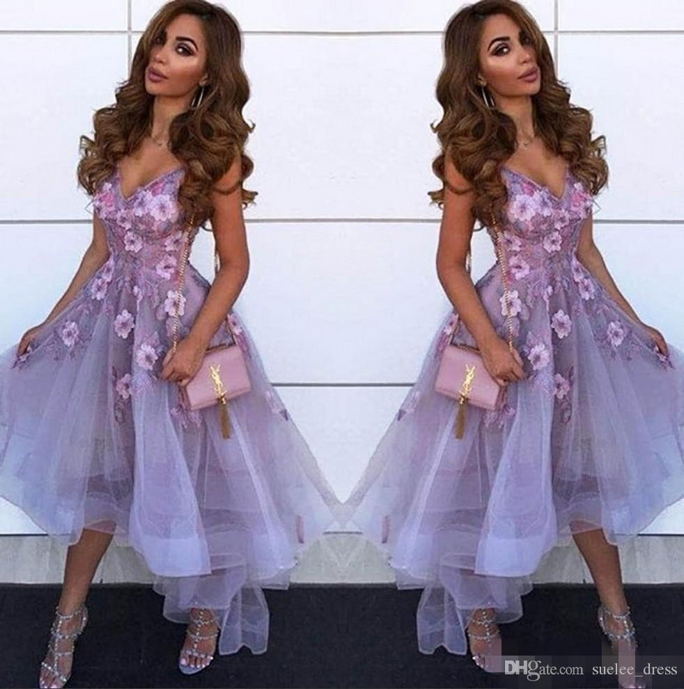 Gorgeous 3D Floral Applique Homecoming Dresses Spaghetti Straps V Neck Organza Custom Made Ruffles High Low Graduation Prom Party Gown