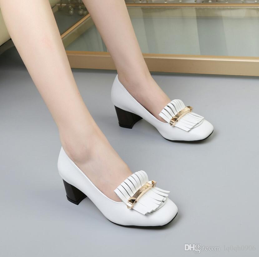 5.5CM grosso tacchi donne singolo nappe scarpe rivetti firmati fibbie in metallo gladiatore alta tacchi delle scarpe delle donne più il formato 41