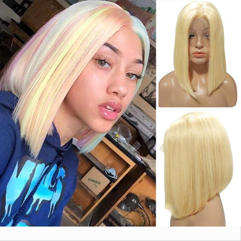 Bob Lace Front Human Hair Wigs Short Blonde Colored Virgin Malaysian Glueless Pre Plucked 613 Blonde Full Lace Ombre Bob Wig Bleached Knots Glueless Full Lace Wigs With Silk Top Human Hair