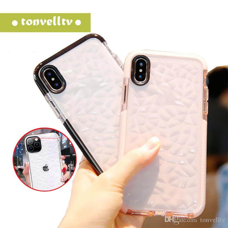 TPU trasparente ultrasottile di diamanti texture Case for iPhone 11 6s 8 XS XR Max Samsung S9 S10 libera TPU antiurto copertura posteriore di 50pcs