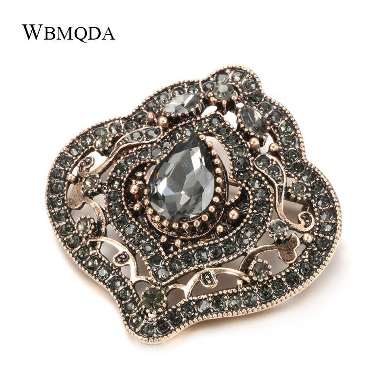 Wbmqda Luxury Cinza Cristal Broche Boho jóias antigas ouro pinos cachecol Broches vintage para Mulheres Acessórios para casamentos