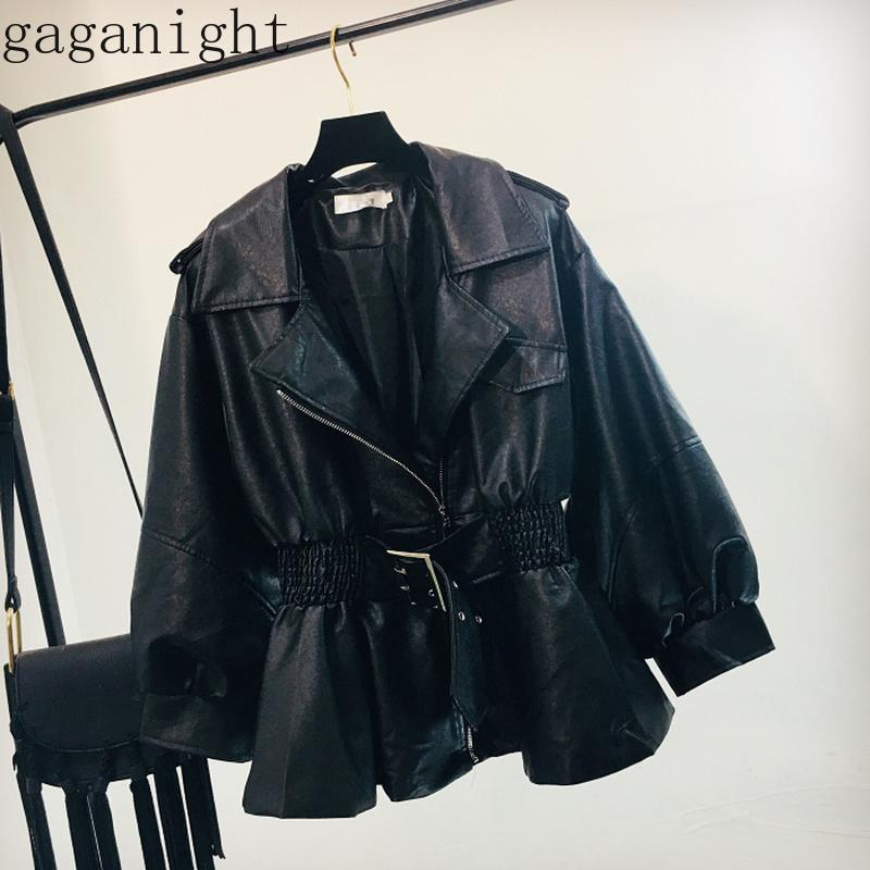 Gaganight outono pu jaqueta de couro mulheres moda moda preto motocicleta casaco ruched faixas faux couro macio jaqueta meninas chaqueta mujer