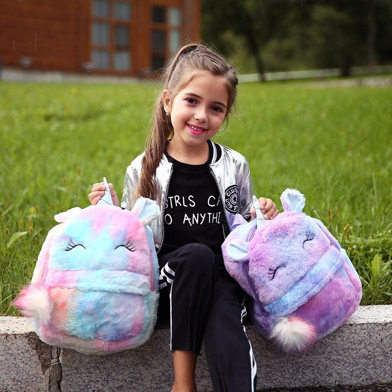 Девочка мультфильм мягкого плюшевый мешка Студент Малого Zipper Schoolbag Единорог Радуга Fur Рюкзак с мячом Kid Новой мини игрушка кукла рюкзак