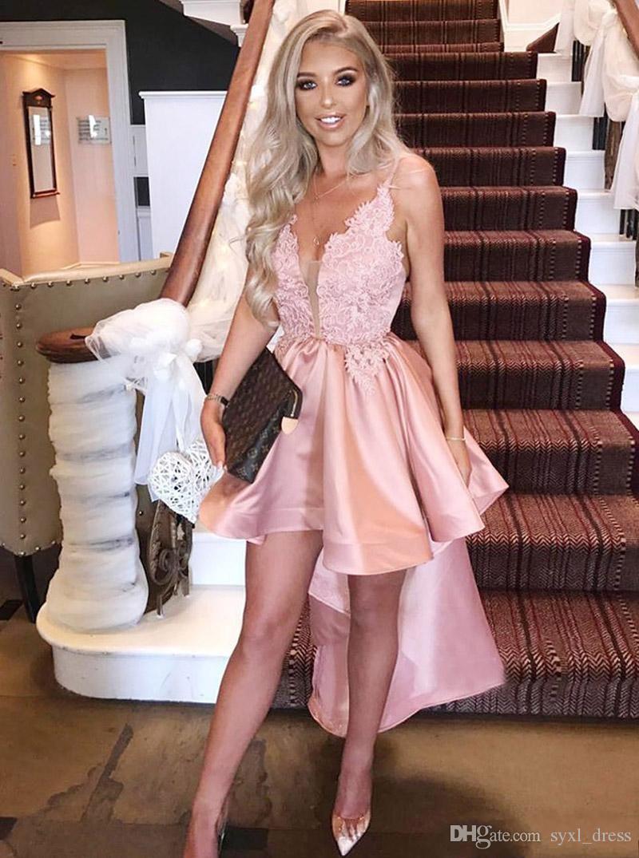 New South African Short Pink High Low Prom Dresses Cocktail Wear for Women Cheap V Neck Abendkleider formal dresses