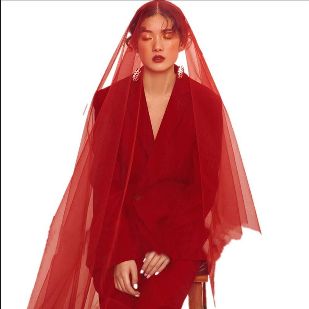 Burgundy wedding gauze layer of red wedding gauze bride veil wedding accessories 1.5M without comb