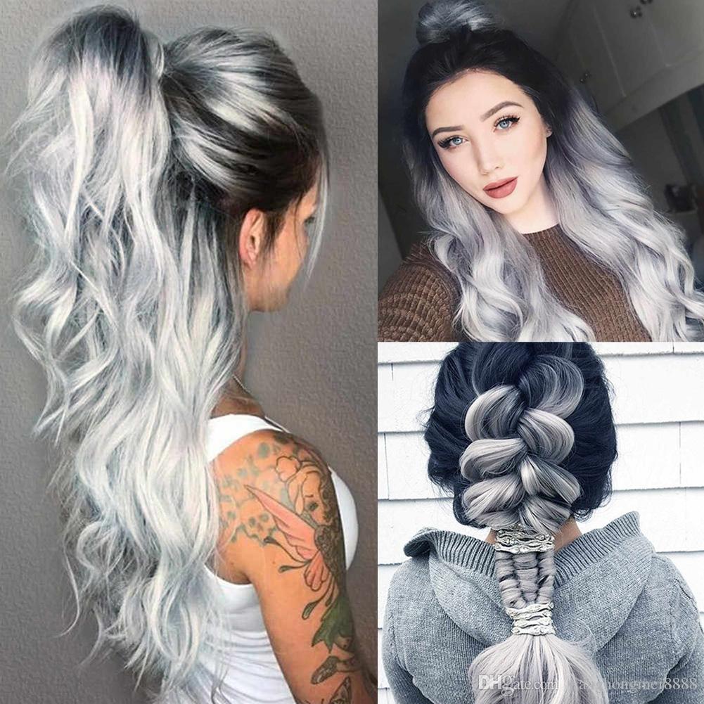 2019 여성 패션 합성 머리 가발 긴 느슨한 물결 모양의 회색 전체 가발 코스프레 파티 휴일 DIY 장식