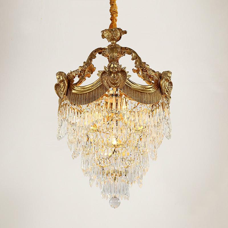 Lámpara colgante cristalino de bronce antiguo D25cm H45cm D60cm H75cm LED decorativo de lujo de suspensión Iluminación LED E14 Cobre Cristal de la lámpara del lustre