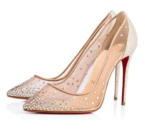 Свадьба жениться платье обувь на плоской подошве / высокие каблуки красные нижние насосы Follies Strass Degrastrass импортная сетка + горный хрусталь партии вечерние туфли