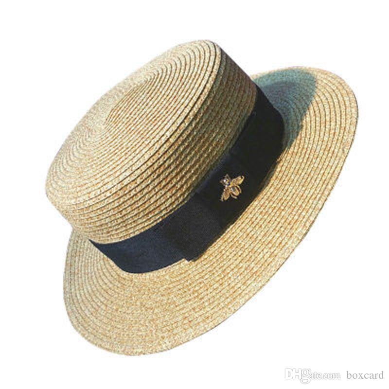 La vendimia del oro trenza sombreros de paja abeja dama de la moda sombrero de ala ancha de protección solar UV plana sombrero de primavera y verano del casquillo del recorrido