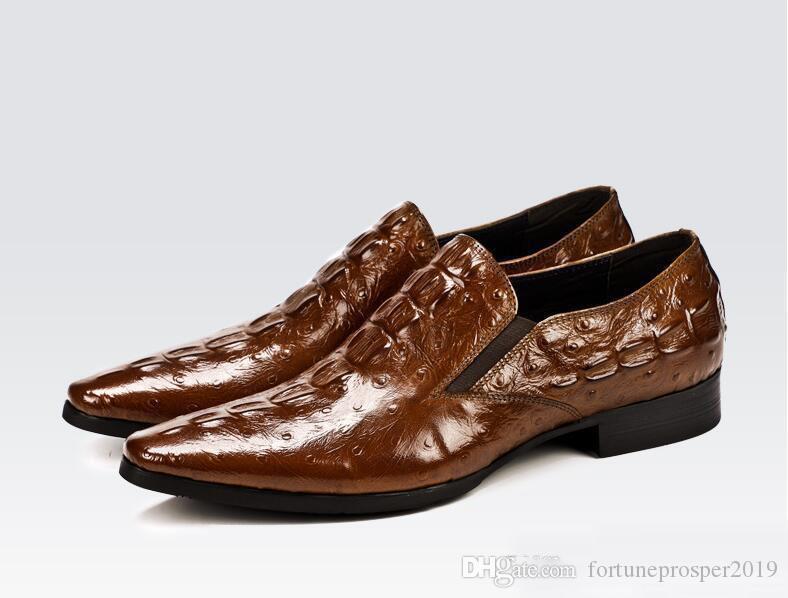 Cuero repujado zapatos de vestir Negro Vino Hombres Goodyear Oxford zapatos de novia: Hombre Party Oxfords Zapatos
