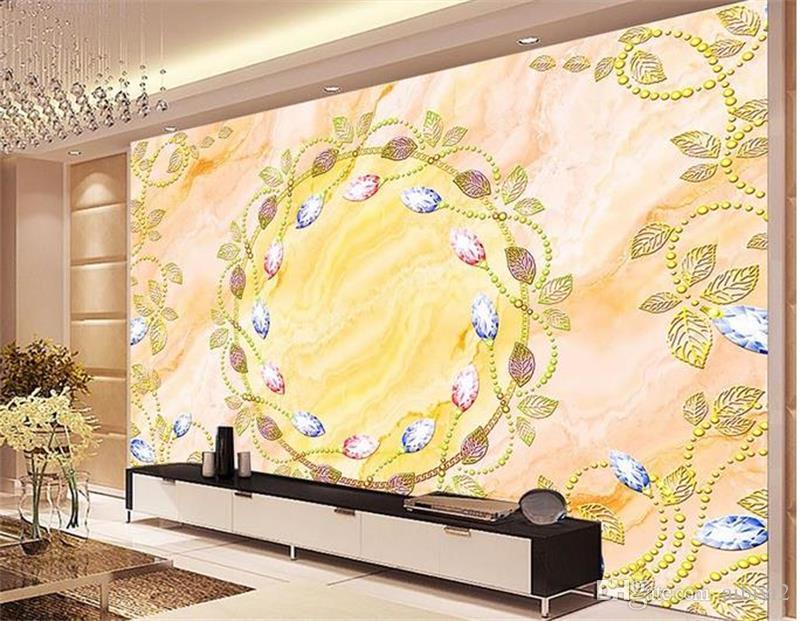 Personalizado 3D Foto Papel De Parede Mural Sala de estar Sofá TV Mural Pano De Fundo mural de ouro europeu diamante textura Imagem Papel De Parede Mural Etiqueta Home Decor