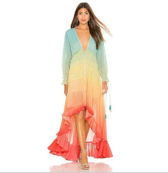 Femmes Designer Dégradé couleur Robes longues Style Mode Bohème Robes Casual manches longues Sexy V Neck Beach Robes Vêtements pour femmes
