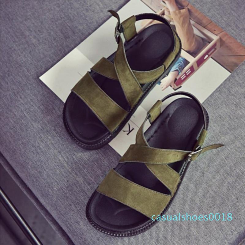 PU-Leder-Studenten Weibliche süße Schuhe Sommer-flache Unterseite beiläufig koreanische Version Muffin-Keil-Frauen-Sandelholz-Mode-Fisch-Mund c18