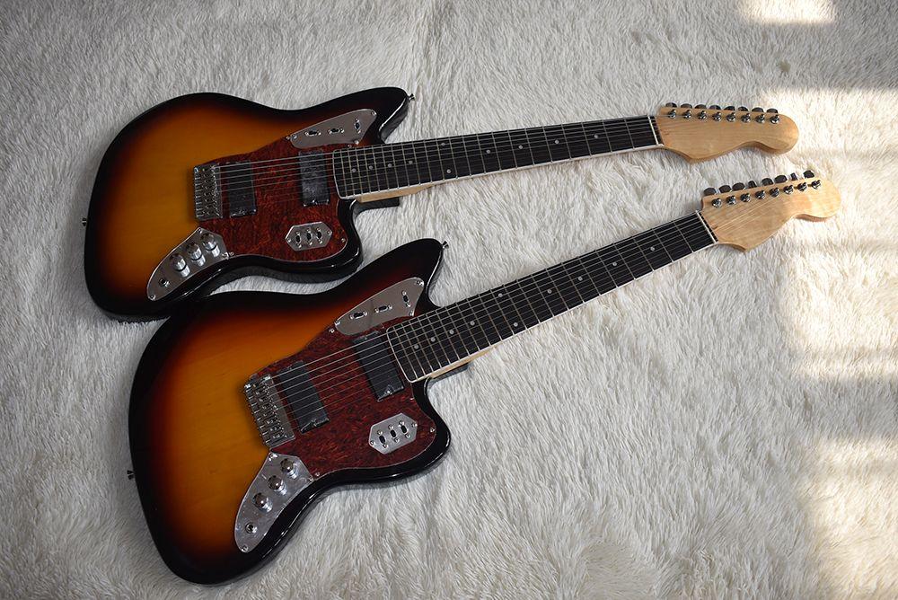 Fabrika Özel Tütün Sunburst Elektro Gitar 8 Strings ile, Blok Fret Kakma, Kırmızı Kaplumbağa Pickguard, Yüksek Kalite, Özelleştirilebilir