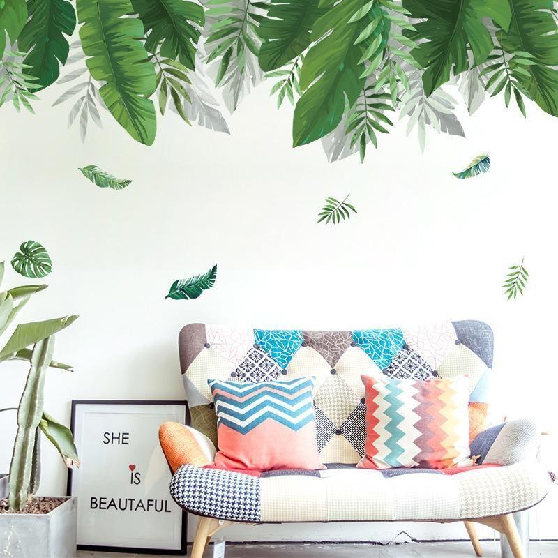Зеленые листья тени стены наклейки тропических растений Дерево Декаль Гостиная Спальня Home Decor Mural Съемный обои DIY Плакат