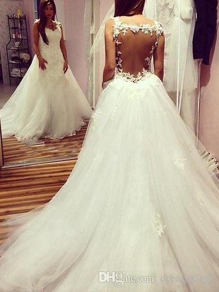 Sexy Back A Line Long Wedding Dresses 2019 New Lace Applique Sweep Strain Sleeveless Wedding Guest Dress Bridal Gowns Custom Made