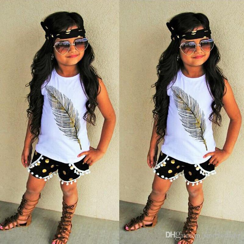 UK Toddler Girls Summer Clothes Feather Print Tops Shorts Headband 3PCS Outfits