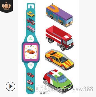 Infantiles Relojes de Dibujos Animados Pro-ambiente Pegatinas Estilos de Mezcla de Coche de Juguete Tatuajes Temporales A Prueba de Agua Tatuajes Arte Corporal HA223