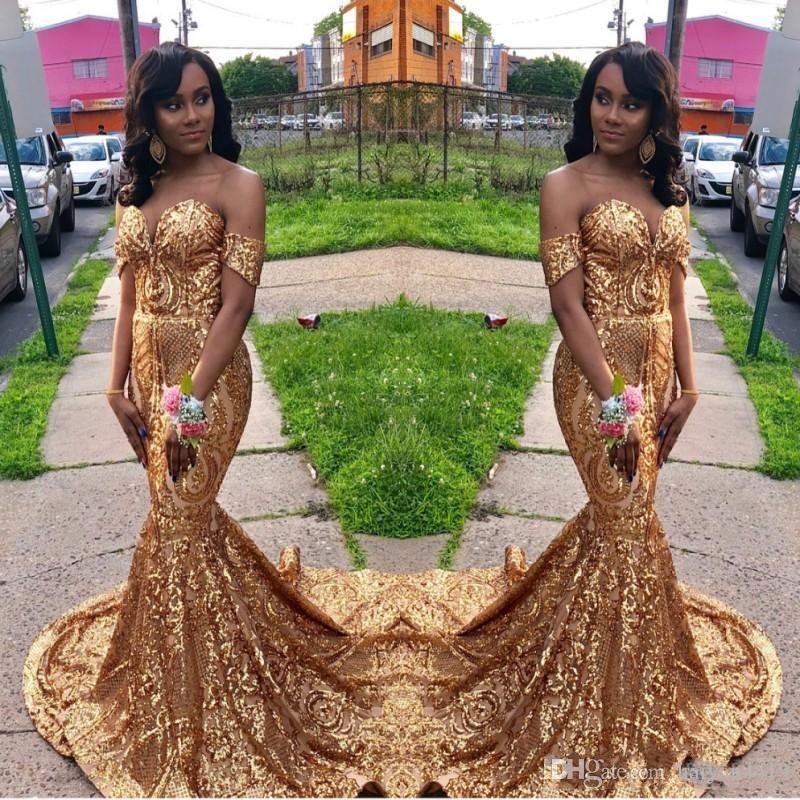 2019 nova sexy bling vestidos de baile querida fora do ombro de ouro lantejoulas rendas sereia varrer trem vestidos de noite lantejoulas vestir vestidos de festa