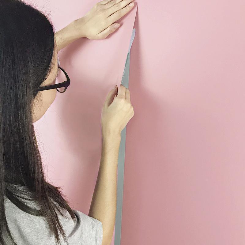 일반 색상 두꺼운 PVC 실크 벽지 방습 정전기 방지 기숙사 침실 어린이 실 실용적 배경 화면 Hot Sale 2 8qxD1