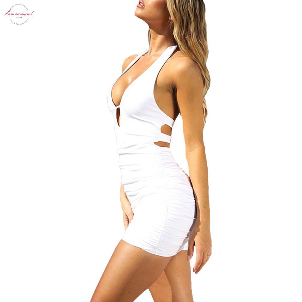 Yaz Kadın Elbise Kılıf Seksi Katı Erotik Kulübü Sıkı Kolsuz Kapalı Omuz Halter Tayt İnce Vestido Mini Elbiseler Elbise