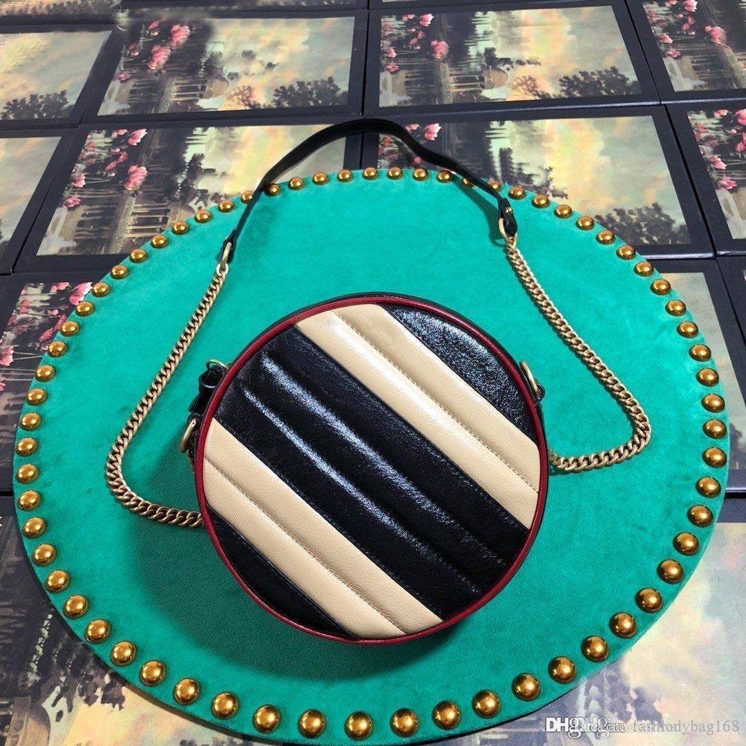 Nueva moda de lujo de la mujer del bolso del hombro de la cadena bolsas Mini Ronda de alta calidad del bolso de cuero de vaca cuero genuino bolso de Crossbody 18cm