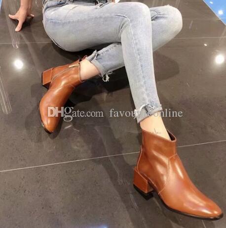 Lüks Yeni Bayan Şövalye Ayak Bileği Sonbahar Kış Kare Topuk Çizmeler Yağ mumu deri Ayakkabı Orijinal Kutusu Boyutu 35-40