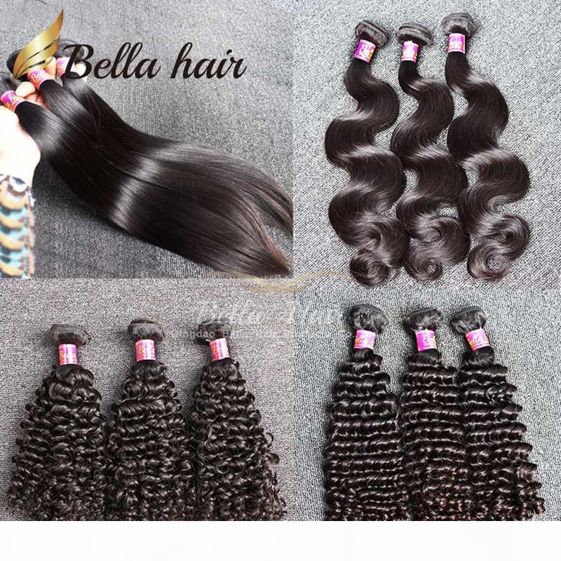 Bella Haare? 9A 100% Remy Jungfrau-brasilianisches Haar-Bundles Rohboden Virgin einfärbbar Bleichbare Menschenhaar-Verlängerungen 3pcs Los brasilianisches Haar