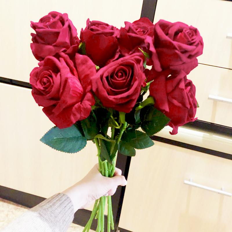 1/2Pcs Real Touch Fake Flower White Red Realistic Rose Artificial Flower Silk Rose DIY Bouquet Weding Birthday Party Home Decor