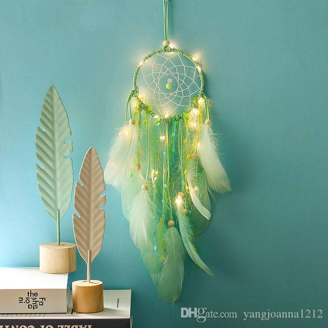 Green Night Light Dream Catcher Girl Student Room Decoration Dreamcatcher With LED Aerial Lamp Decoration Birthday Gift Bedroom Wall Hanging