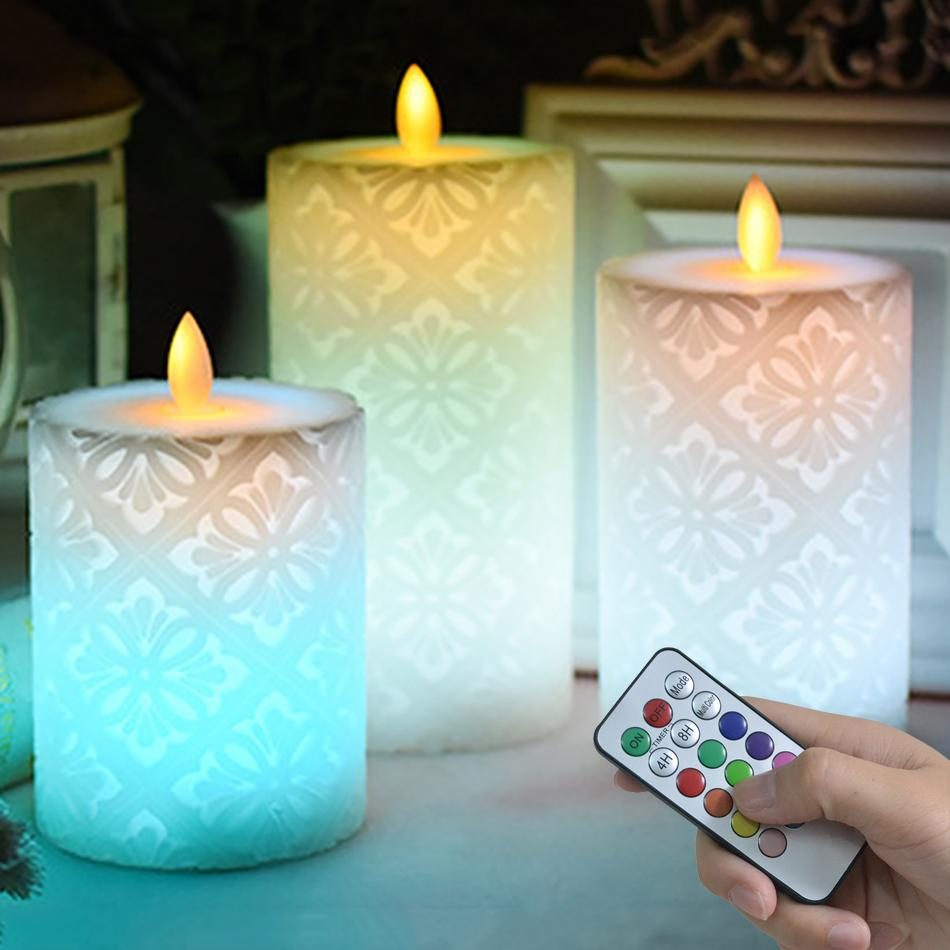 Wireless Remote Led Candle With Dancing Flame led light,Wax Pillar Candle for Wedding Decoration/night light,Christmas Candles T200108